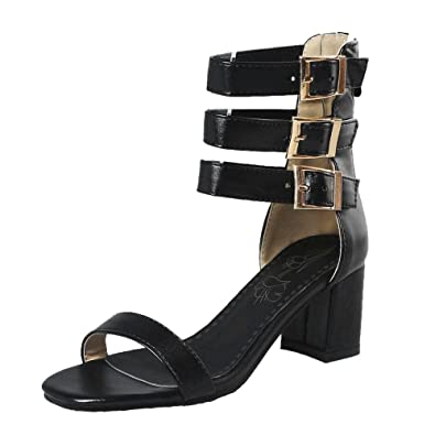 8e2c52e8342 Amazon.com | Carolbar Women's Ankle Strap Open Toe Zip Multi-Buckle ...