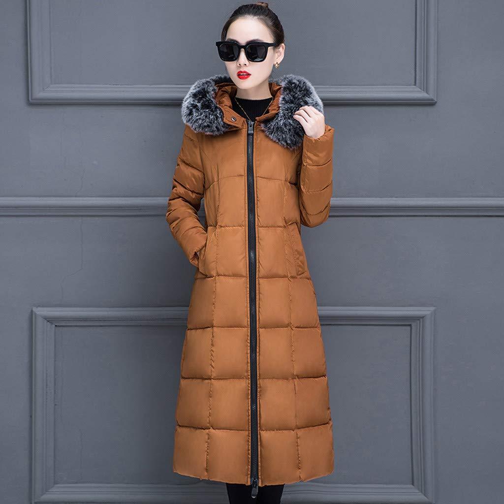Eoeth Women Warm Long Coat Faux Plush Collar Hooded Jacket Hot Slim Winter Outwear Coats Overcoat Windbreaker