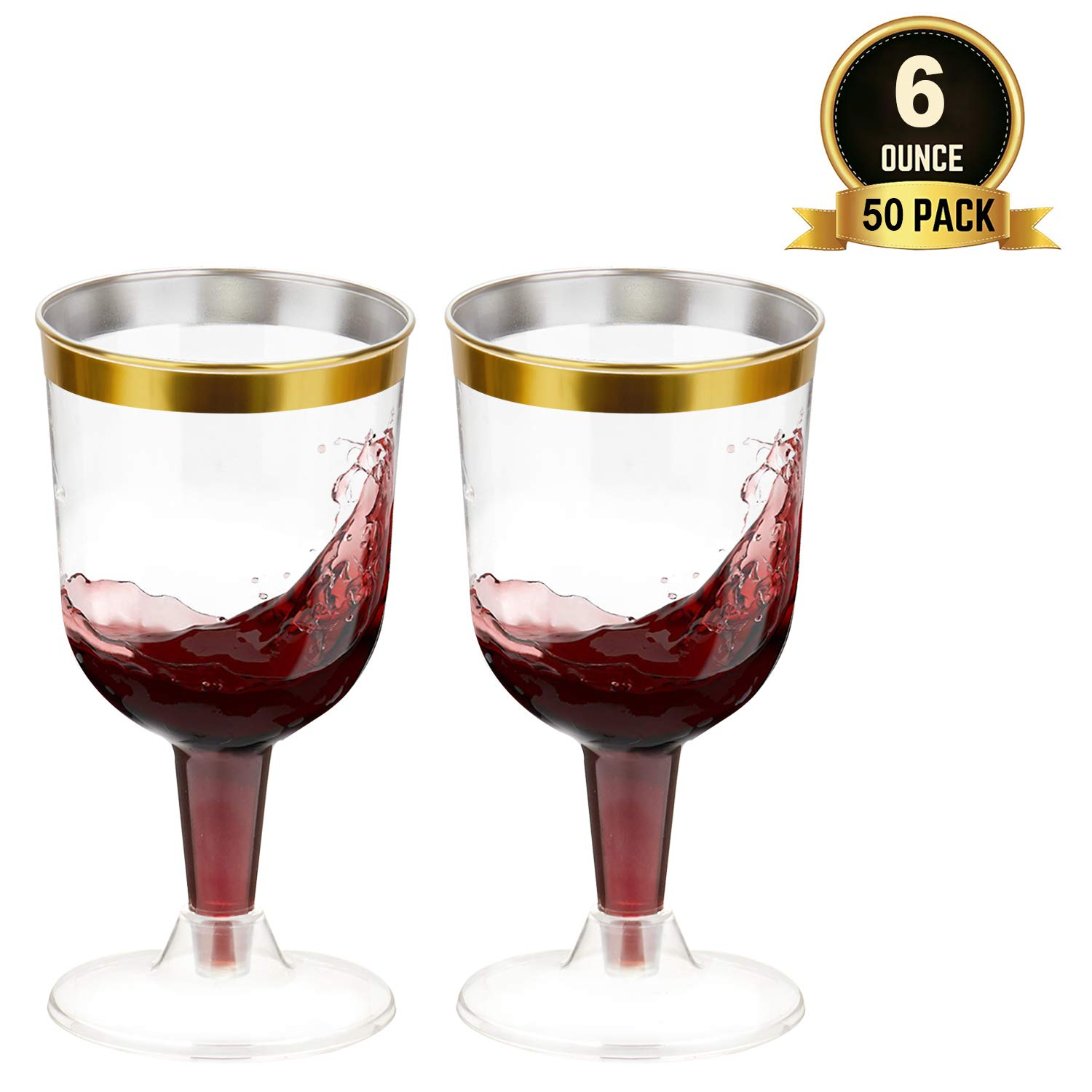 TOROTON 50 Plastic Wine Glasses, 6oz Gold Rimmed Disposable Wine Glasses for Wedding Party by TOROTON
