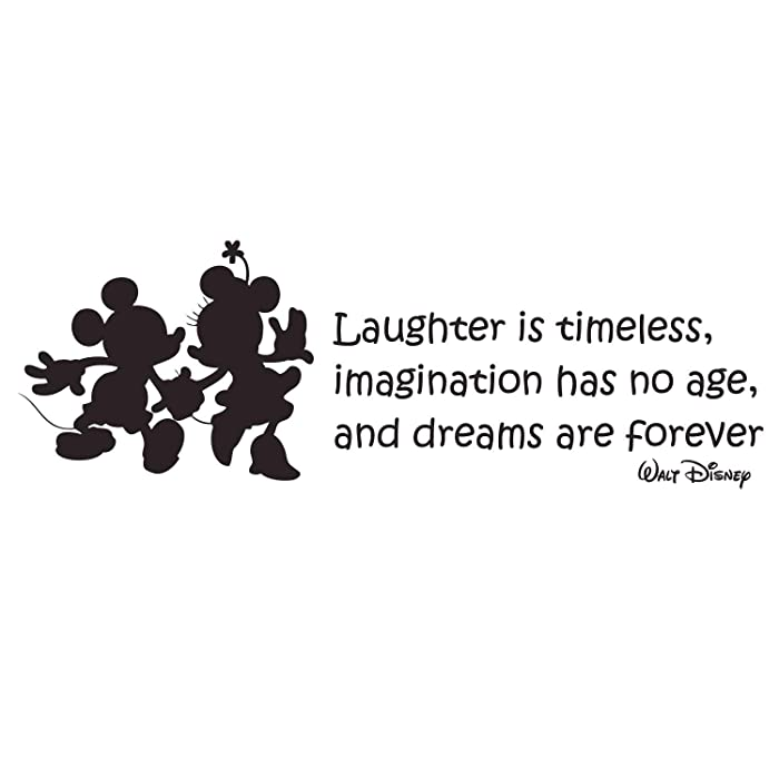 CustomVinylDecor Laughter is Timeless Walt Disney Quote Vinyl Wall Decal with Mickey and Minnie Mouse Silhouettes | Black, Size: 33inch x 11inch