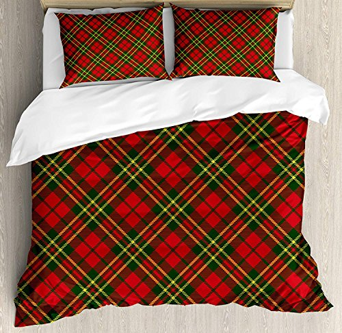- Checkered Full Ultra Soft 100% Microfiber Hotel Collection 4 Piece Set with 2 Pillow Shams Flat Sheet for Adult/Kids/Teen, Irish Tartan Plaid Motifs in Christmas Colors Geometrical Crossed Stripes