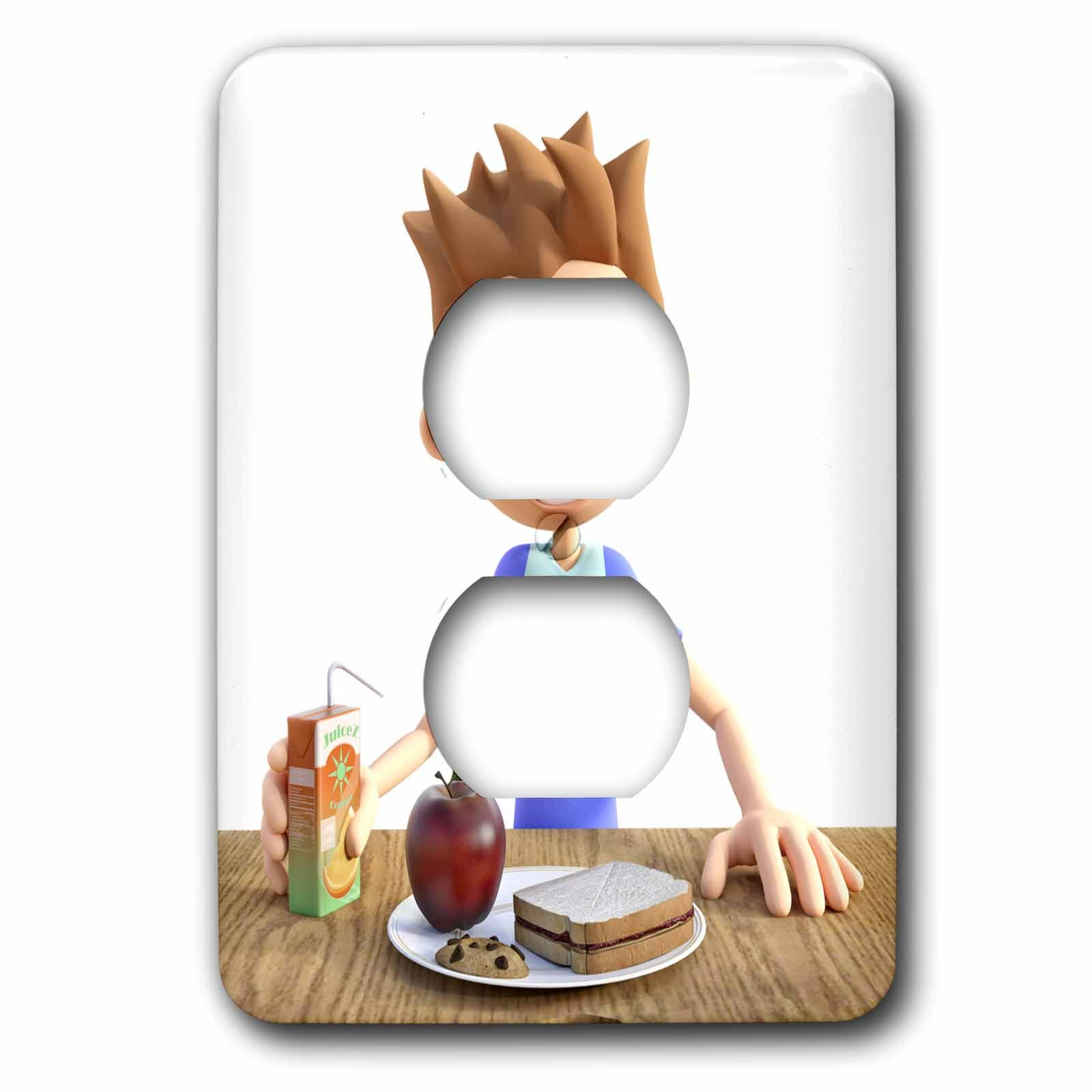 3dRose Boehm Graphics Cartoon - A Cartoon Boy with His School Lunch - Light Switch Covers - 2 plug outlet cover (lsp_282397_6)