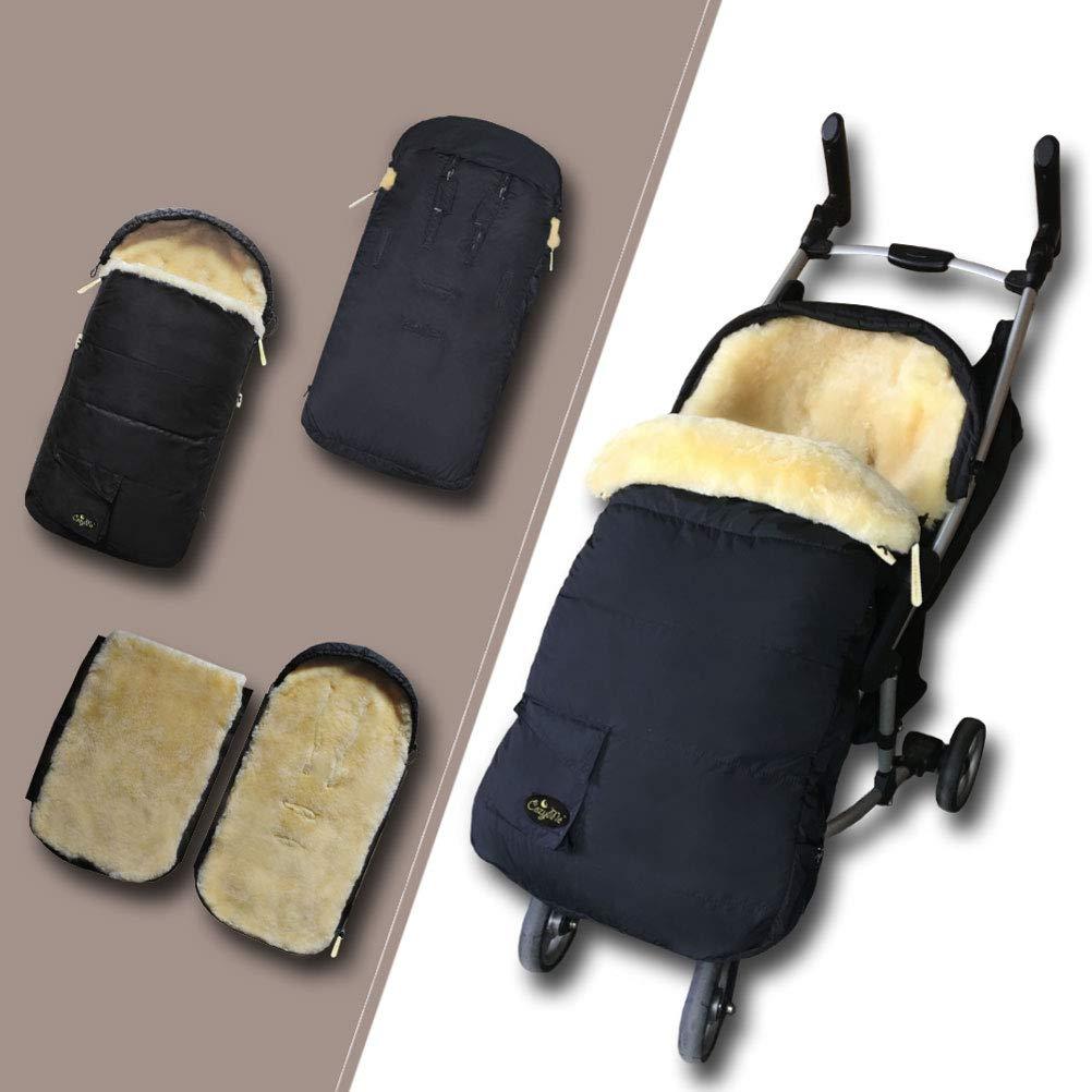 Cozyme Anti-Freeze Comfortable Soft Australian Sheepskin Universal Fits All Stroller Footmuff Waterproof Weather Resistant Baby Bunting Bag