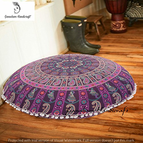 - Ganesham Handicrafts- Indian Hippie Bohemian Round Mandala Pillow Throw Gypsy Bedroom Decor, Round Seating Pouf Ottoman, Mandala Floor Pillow, Handmade Pillow Cover, Indian Pouf, Mandala Cushion Cover