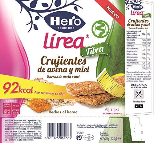 Hero Línea Barritas de Avena y Miel Alto contenido en Fibra 92kcal por ración Pack 9 Cajas de 3x40 g