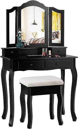 Black Giantex Tri Folding Oval Mirror Wood Bathroom Vanity Makeup Table Set with Stool /&7 Drawers