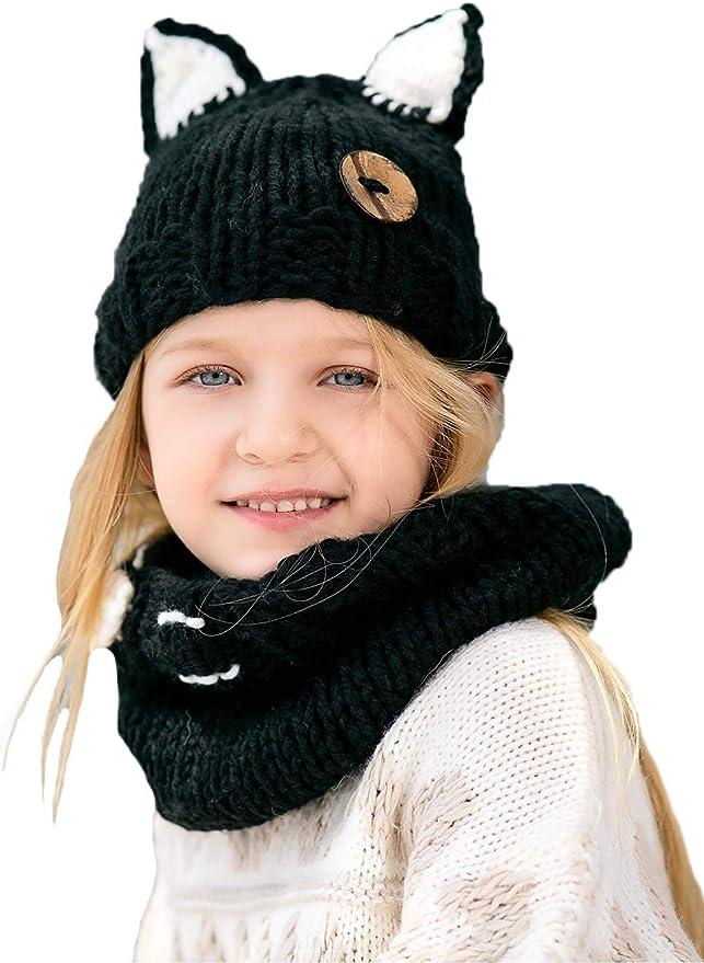 color negro dise/ño de gato Unicra Gorro de invierno para beb/é