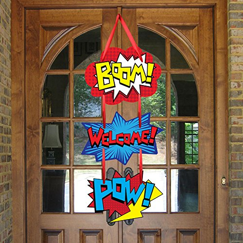 Superhero Birthday Party Supplies Door Sign Welcome Hanger For Kid Superhero Themed Party Decorations Favor]()