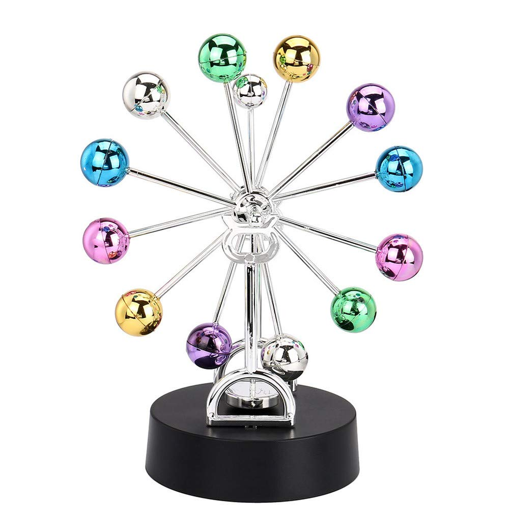 Perpetual Motion Desk Sculpture Toy,Electronic Desk Toy for Home Decoration,Magnetic Executive Office Home Décor Tabletop Toy (11x22cm)