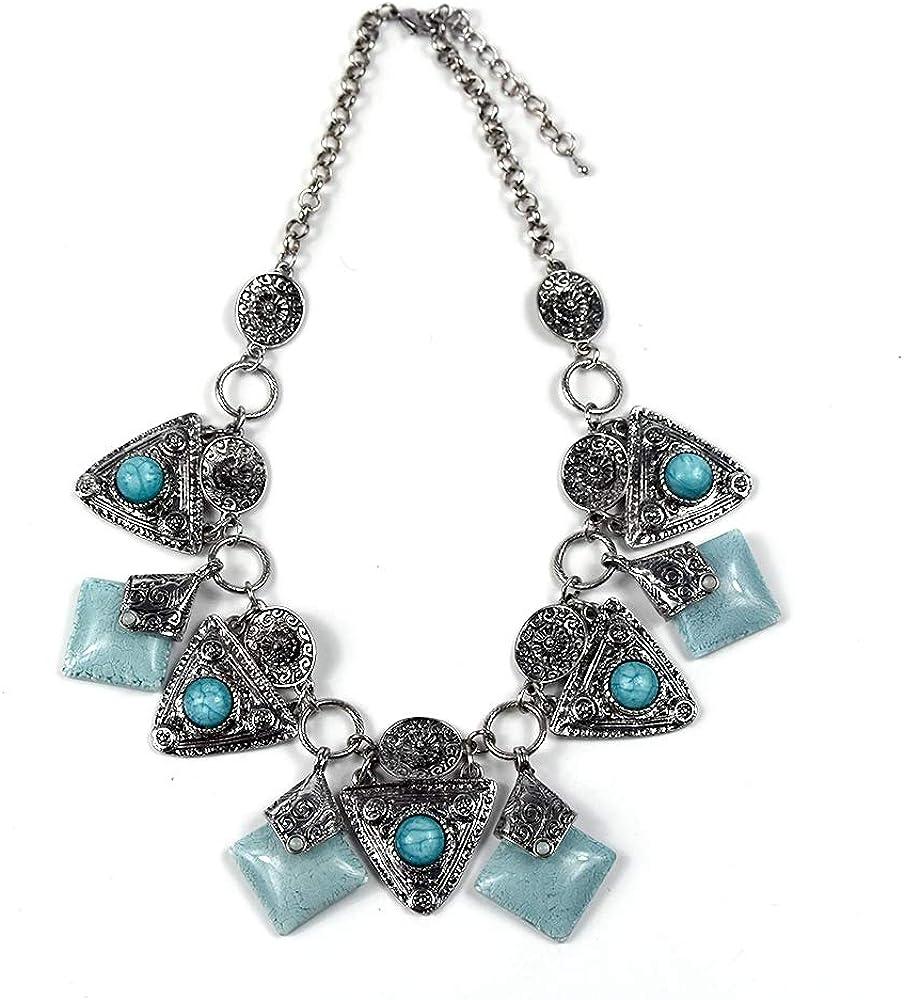 Fashion Silver Chain Turquoise Collar Choker Statement Pendant Bib Necklace New