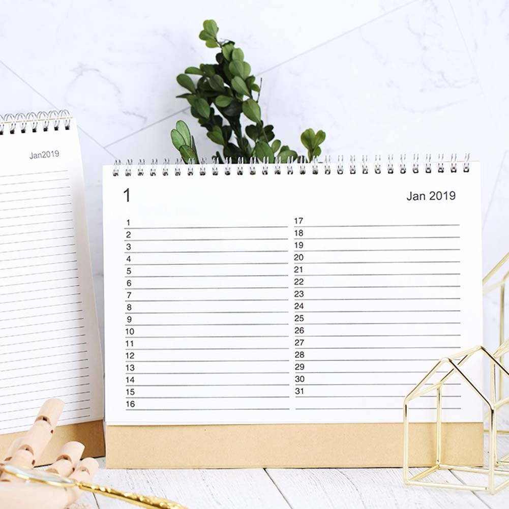 JUNDA Desk Pad Calendars,Twin-Wire Binding,July 2018 - December 2019,Monthly Planners for Office,School,Family,15x24x7CM,Pack of 2 by JUNDA (Image #3)