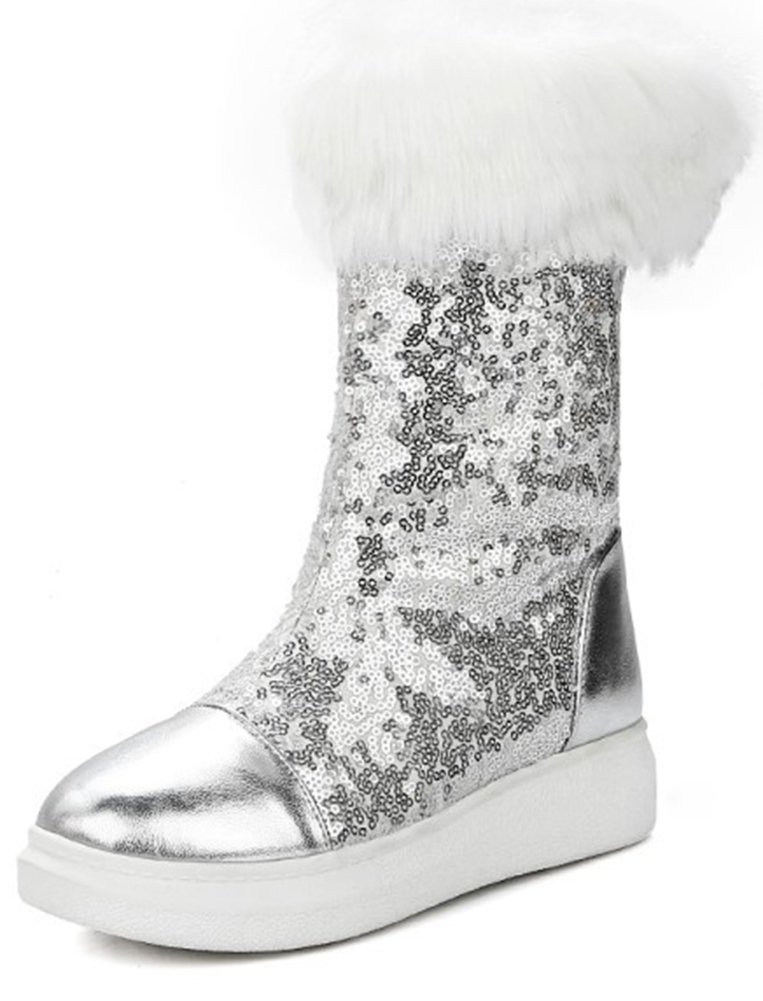 Aisun Women's Warm Glitter Sequins Thick Sole Faux Fur Lined Round Toe Flat Platform Pull On Mid Calf Snow Boots (Silver, 10 B(M) US)