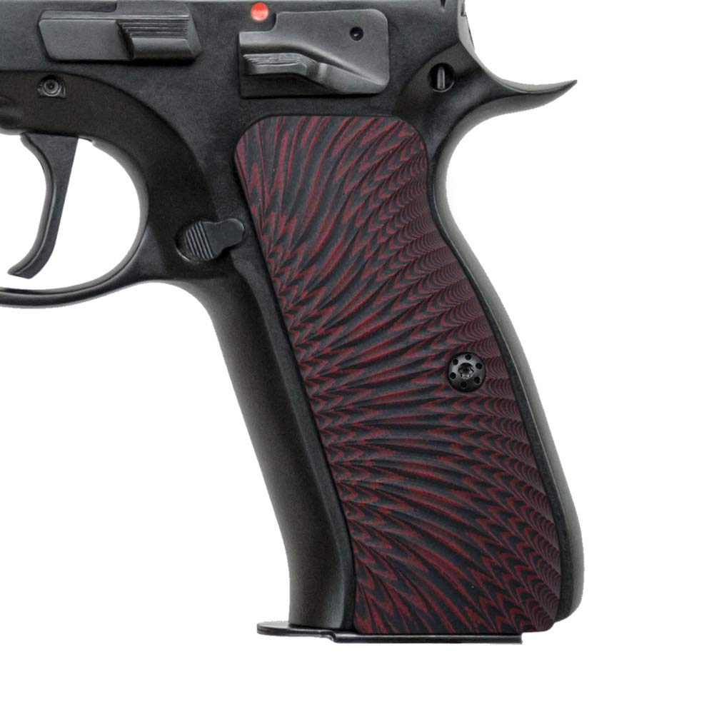 Cool Hand G10 Grips for CZ 75 Full Size, Sunburst Texture, Brand, Dark Red/Black by Cool Hand