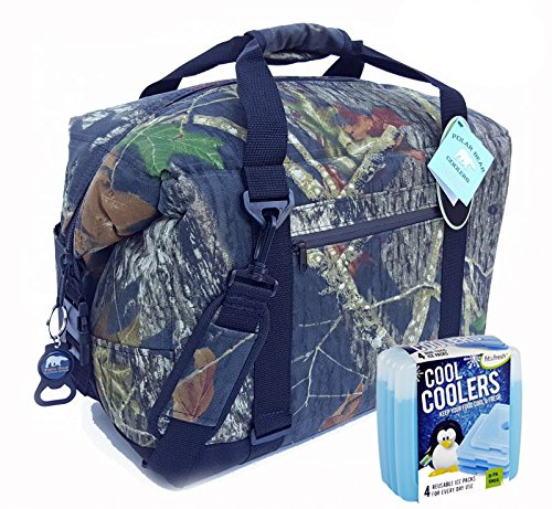 Polar Bear Coolers Nylon Series Soft Cooler Tote Size 24 Pack (Mossy Oak BreakUp) & Fit & Fresh Cool Coolers Slim Ice 4-Pack - 24 Polar Bear Cooler Pack