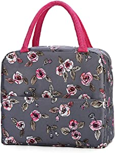 Saukiee Reusable Lunch Bags Insulated Cooler Tote Picnic Bag with Zipper Lunch Container Box Work Travel Food Containers for Women Adults(Rose)