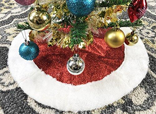 18 Mini Red Glitter Fabric Christmas Tree Skirt - Red