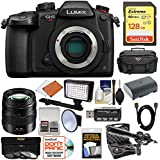 Panasonic Lumix DC-GH5S Wi-Fi C4K Digital Camera Body with 12-35mm f/2.8 Lens + 128GB Card + Battery + Case + LED Light & Flash + Mic Kit