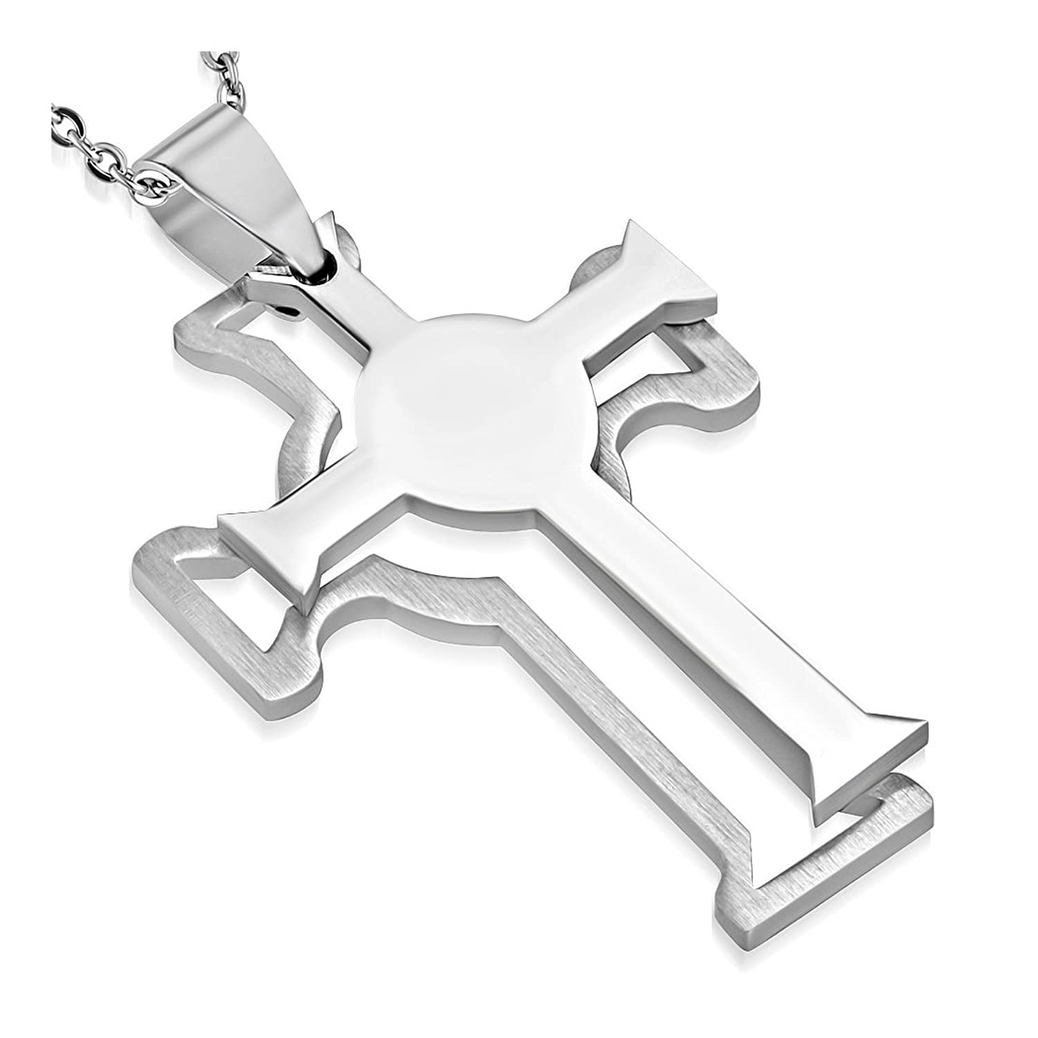 Stainless Steel 2-Part Cut-out Clonmacnoise Cross Pendant
