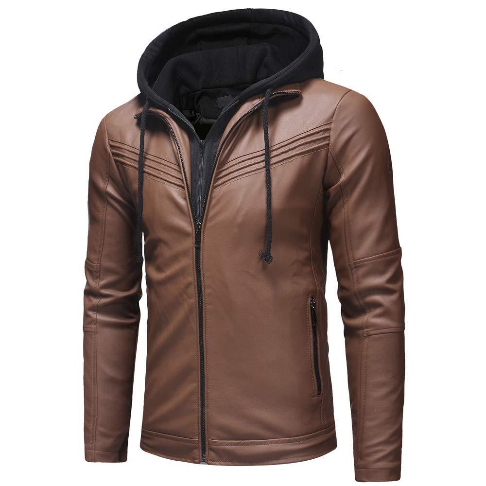 671ceb6b8 Mysky Autumn Winter Men's Classic Hooded Patchwork Leather Jacket ...