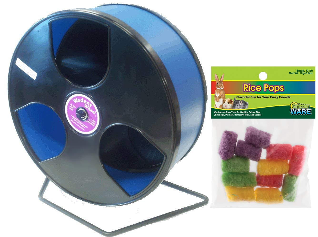 Wodent Wheel 12 Inch: Transoniq Wobust Wodent Wheel Bundle with Ware Rice Pops Treat: Black with Blue Track by CritterTyme