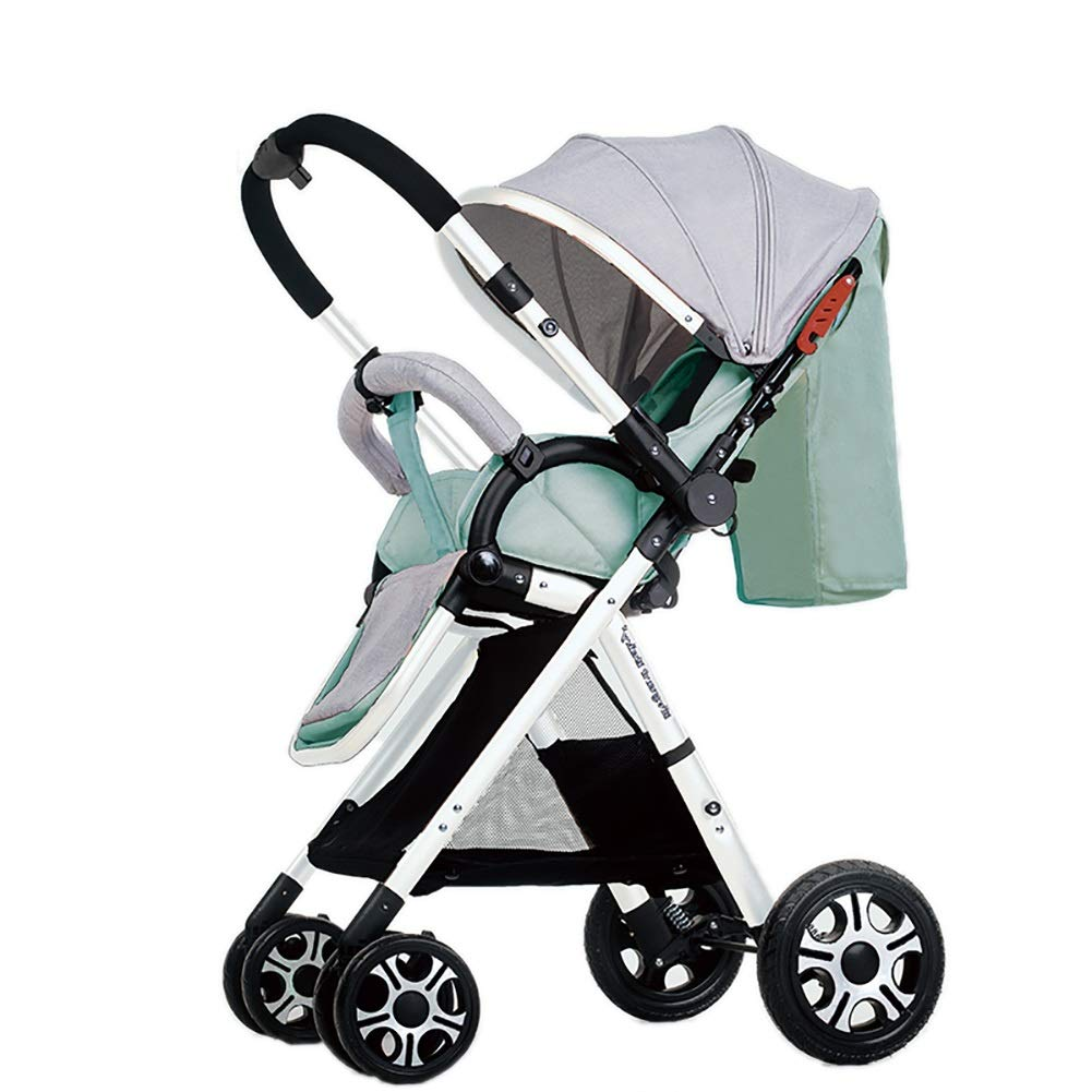 Mariny 高地の赤ちゃんのベビーカーは、可逆的な幼児を扱うバギーは、座って、寝ることができますDownlightライトポータブル折り畳み式チャイルドカート (色 : Mint Green (2))  Mint Green (2) B07R9XYR9V