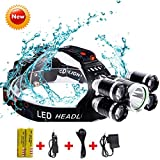 Brightest and Best LED Headlamp 5 Led Bulbs Cree XML-T6 10000 Lumens Headlight + 4R5 4 Mode 18650 Rechargeable Waterproof Headlamp Super Bright Adjustable Headlamp for Outdoor Hiking Camping Riding Fi