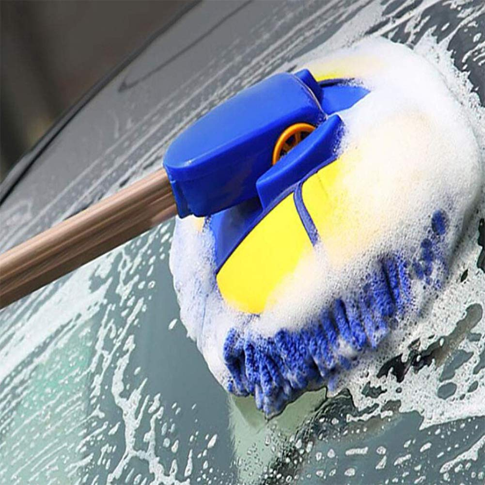 XNNSH 2-in-1 Long Chenille Microfiber Wash Mop with 4'' Extension Pole