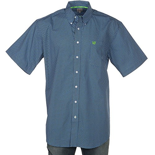 Cinch Men's Classic Fit Short Sleeve Button One Open Pocket Print Shirt, Royal Blue/Lime, S