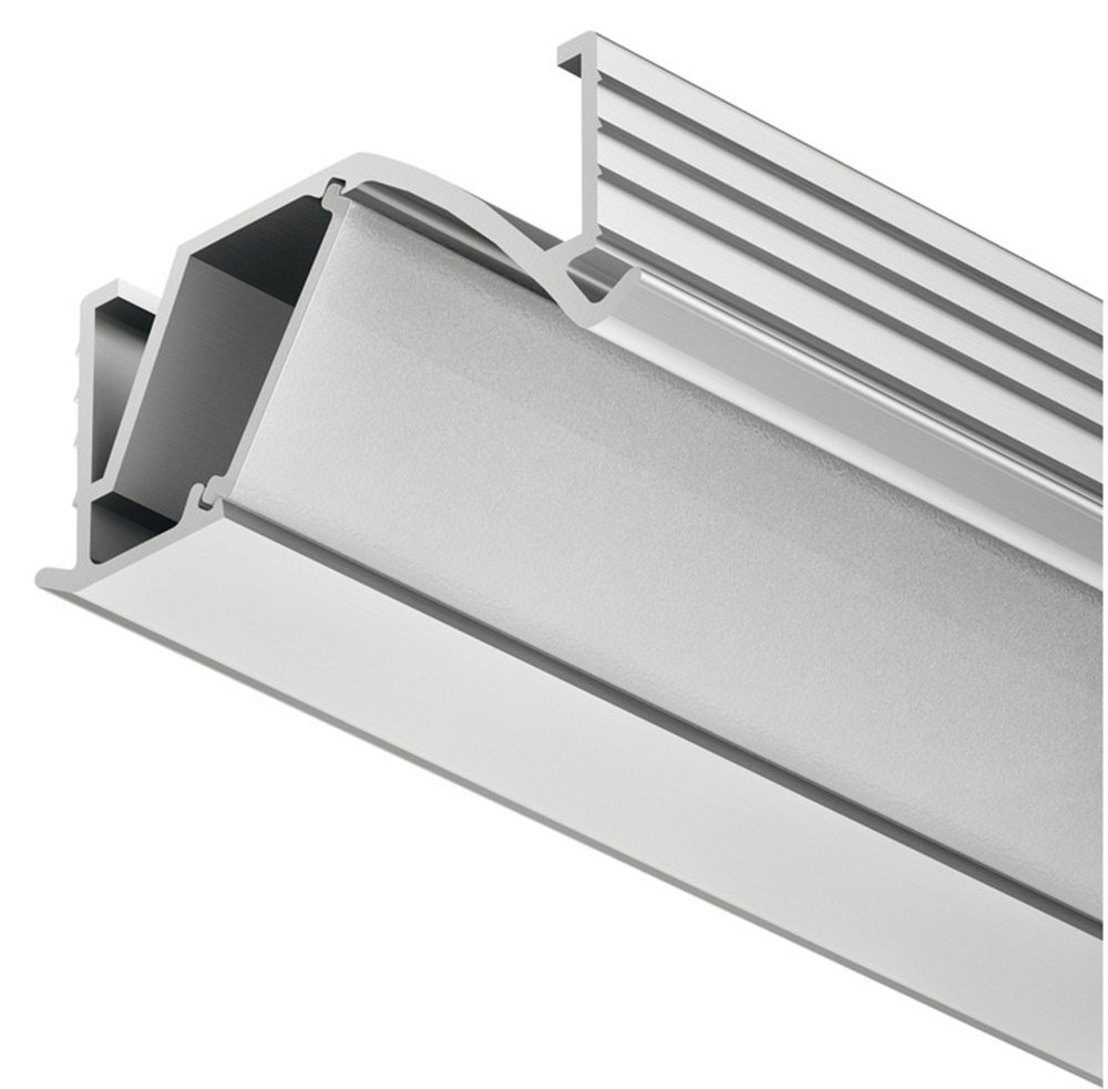 Gedotec Einbauprofil abgewinkelt 14 mm Aluminium-Profil Loox LED Eckprofil 2500 mm Profilleiste für LED-Streifen   Aluminium silber eloxiert   Streuscheibe milchig transparent   1 Stück