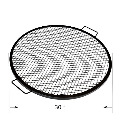 onlyfire Heavy Duty Round X-Marks Fire Pit Cooking Grate Grill, 30 Inch Diameter Expanded Metal Grill