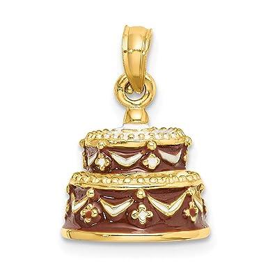 Abalorio de oro amarillo de 14 quilates con diseño de tarta ...