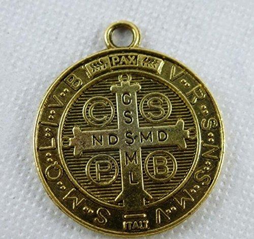 Colgante de medalla de San Benito con cruz de Omeny plata antigua