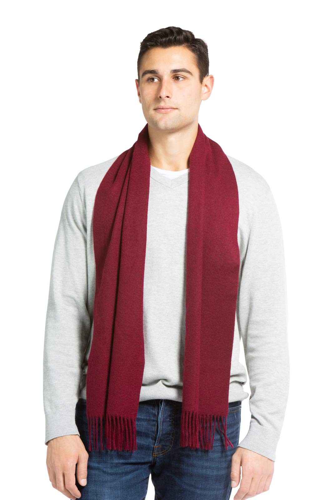 Fishers Finery Men's 100% Pure Cashmere Scarf, Warm and Comfortable (Cabernet)