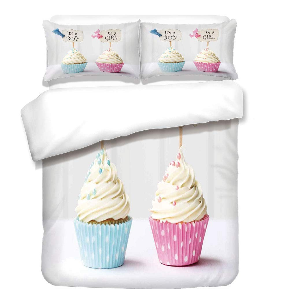 iPrint 3Pcs Duvet Cover Set,Gender Reveal,Boy and Girl with Cupcakes Yummy Chocolate Celebration Theme,Pale Blue and Pink Cream,Best Bedding Gifts for Family/Friends