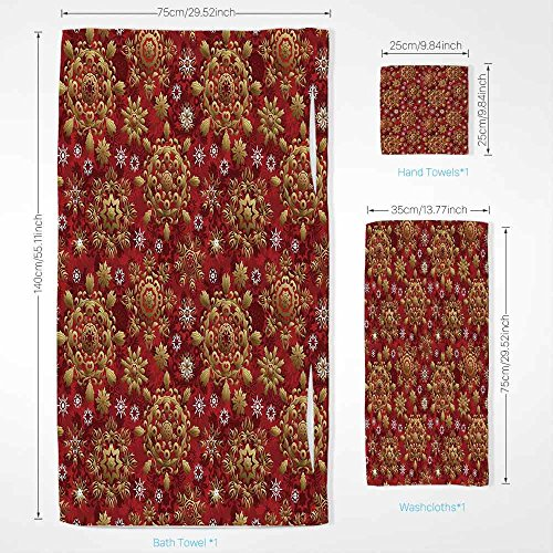 34c0643a554a iPrint Red Mandala Quick Dry Plush Microfiber (Towel+Square Scarf+Bath  Towel) Christmas New Year Ornaments Inspired Ethnic Tribal Floral Design  and ...