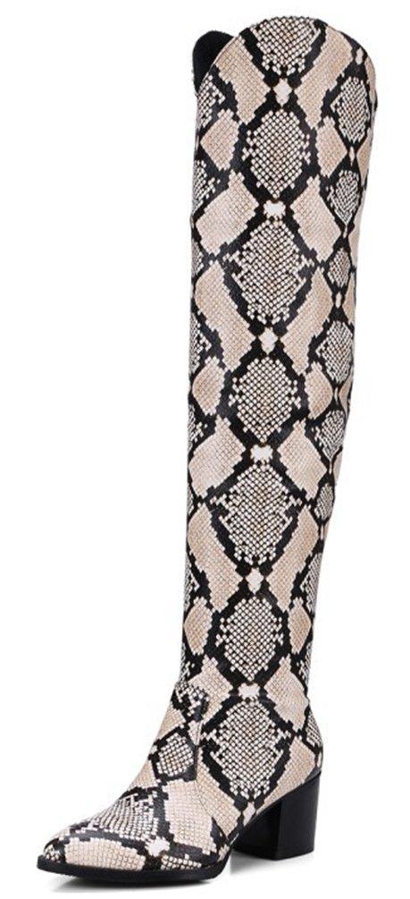 SHOWHOW Damen Lack Überknie Hoch Schenklhoch Langschaft Stiefel Mit Absatz  37 EU|Schlangen-Muster