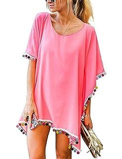 heekpek Womens Flower Neck Tassel Beach Cover Ups 3//4 Sleeve Kaftans Swimsuit Swimwear Blouse