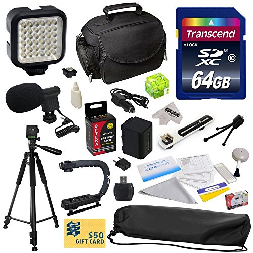 Advanced Accessory Kit for Sony PJ10, PJ26V, PJ30V, PJ50V, PJ200, PJ230, PJ260, PJ320, PJ340, PJ380, PJ390, PJ420, PJ430, PJ430V, PJ510, PJ540, PJ580V, PJ650V, PJ710V, PJ760V, PJ790V, PJ810, HXR150E, XR155, XR160, XR260V, XR350, XR350E, HDR-XR350V, XR550, XR550E, XR550V, XR550V, XR550V Video Camera Camcorder Includes 64GB High Speed Memory Card + Card Reader + Opteka NP-FV70 2500mAh Ultra High Capacity Li-ion Battery + Battery Charger + Deluxe Padded Carrying Case + Professional Photo / Video from 47th Street Photo