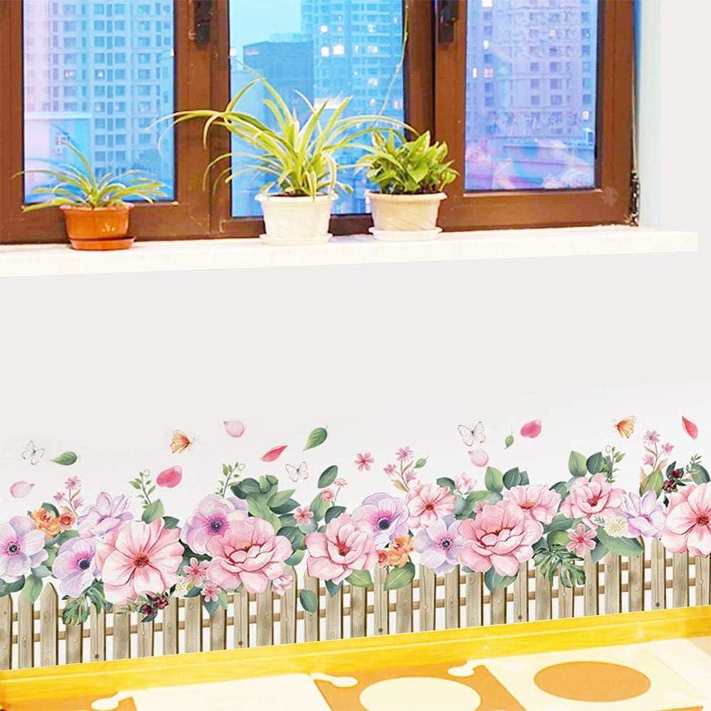 AITOCO Blumen Wandtattoos Applikationen Pflanzen Sockelleisten Aufkleber Wandtattoos Peeling Aufkleber Wandtattoos Kinderzimmer