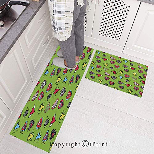 2 Piece Non-Slip Kitchen Mat Rubber Backing Doormat Runner Rug Set,Hand Drawn Set of Hearts Sketch with Various Shapes and Sizes Love Affection Design 15.7