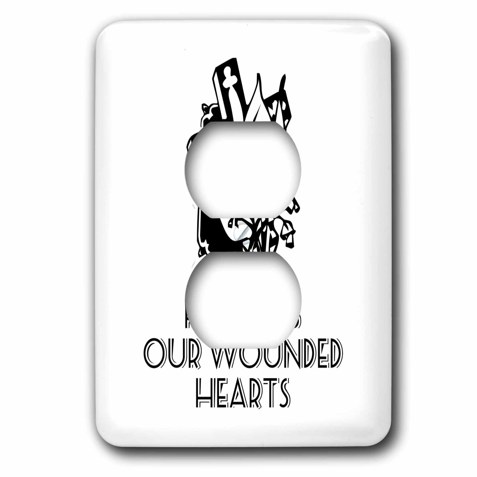 3dRose Alexis Design - Christian - Cross and flowers, the text He heals our wounded hearts on white - Light Switch Covers - 2 plug outlet cover (lsp_286186_6)