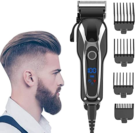 Black Hair Shaver Clipper Hair Shaver Electric Clipper Professional Cordless Clippers Beard Shaver Electric Haircut Kit Hair Clippers,Electric Rechargeable Trimmer Kit Men Hair Detail Shaver
