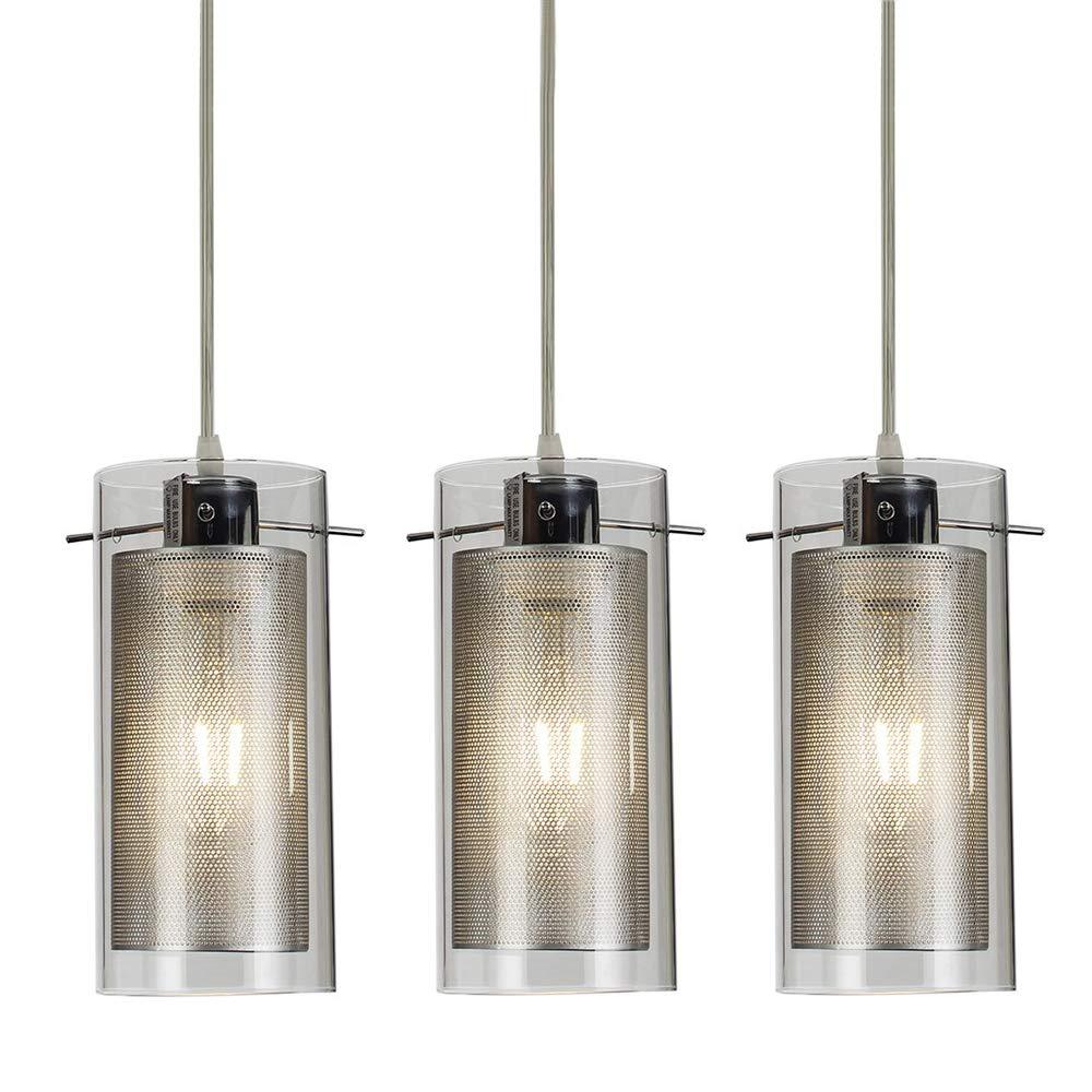 COTULIN Set of 3 Modern Living Room Bedroom Glass & Crystal Small Pendant Light,Pendant Lighting with 2-Layer Glass and Metal Shade for Kitchen Hallway Bar