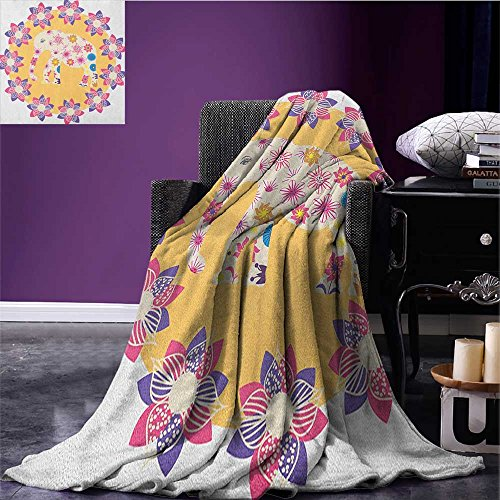 Kids wearable blanket Colorful Natural Wildlife Animal with Various Flowers Cartoon Style Thai Baby Elephant security blanket Multicolor size:50''x60'' by Anniutwo