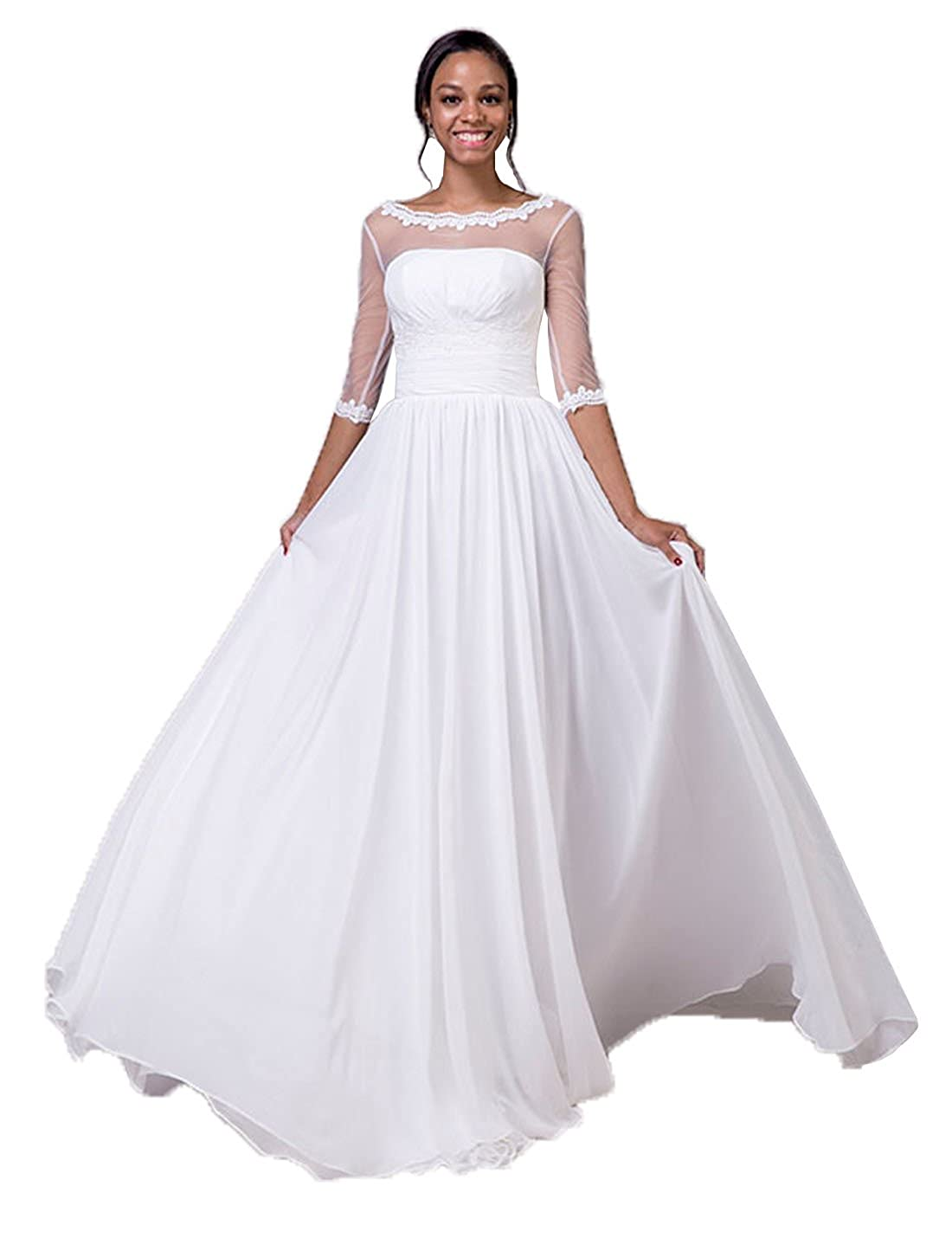 Lorie Wedding Dresses With Sleeves A Line Chiffon Bride Dress Lace