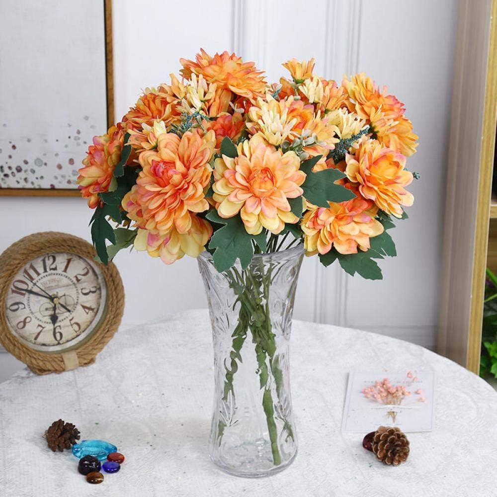 Flores Artificial Flores Artificiales 10 Cabezas De Caléndula De Seda Ramo De Boda Dalia Fiesta De Bricolaje Decoración del Hogar Flores Falsas Crisantemo Gerbera