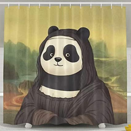Amazon BHUIA Mona Panda Shower CurtainWaterproof Polyester