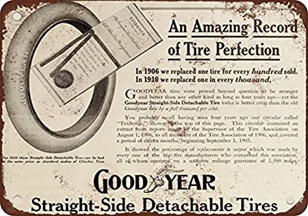 Cartel de metal con aspecto vintage de neumáticos ...