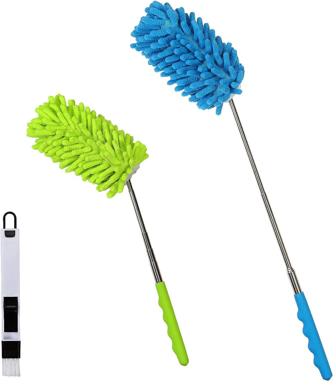 3pcs Plumero de Microfibra,SEELOK Plumeros para el Polvo Extensible Atrapapolvo Muebles Productos de Limpieza de la Casa para Limpiar Esquina Techo Ventanas Persianas Tela de Araña
