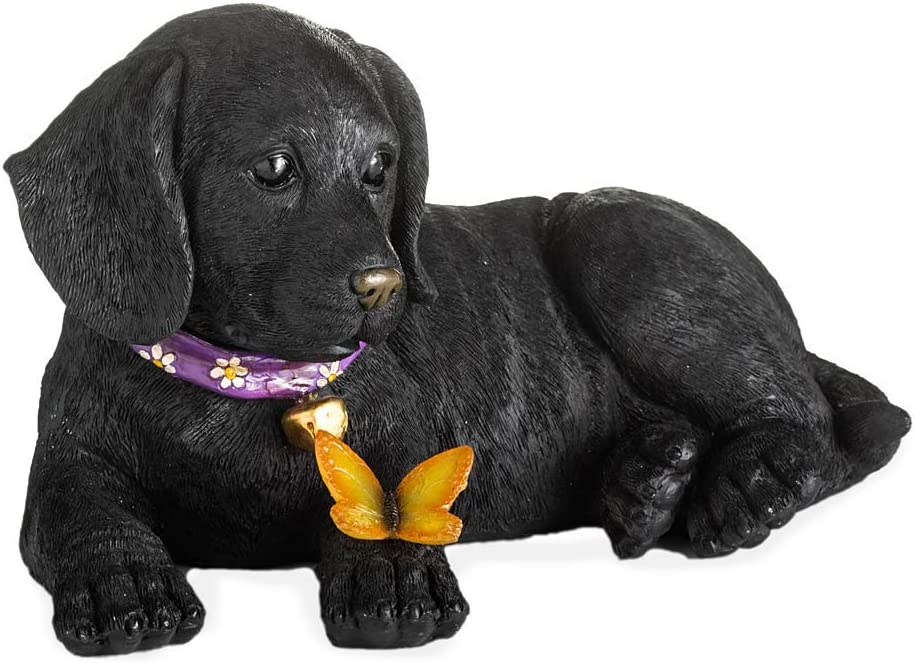 Plow & Hearth Labrador Retriever Puppy Garden Statue with Solar Butterfly, Discrete Solar Panel, Realistic Details, LED Butterfly, Crafted from Durable, Weather-Safe Resin, 13¼